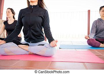 meditação, classe ioga, relaxamento