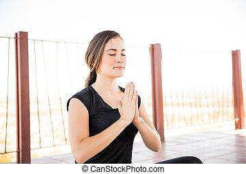 meditação, ioga, centro, condicão física