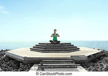 meditação, mulher, praia, jovem