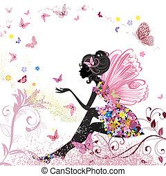 meio ambiente, borboletas, flor, fada