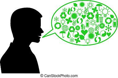 meio ambiente, falando, verde, human