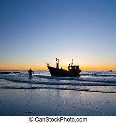 meio ambiente, pescador, céu, pôr do sol, bote