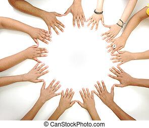 meio, espaço cópia, fazer, fundo, conceitual, branca, multiracial, crianças, símbolo, círculo, mãos
