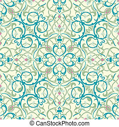 meio, inspirado, seamless, oriental, azulejo, desenho