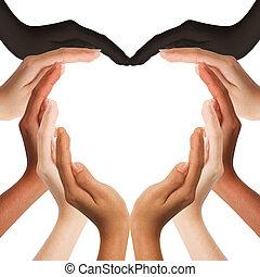 meio, mãos, coração, multiracial, fazer, forma, espaço, fundo, cópia, human, branca