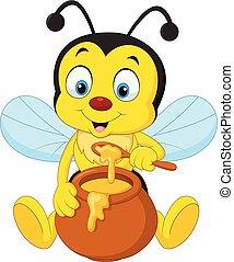 mel, pote, caricatura, abelha