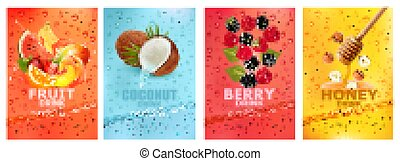 mel, together-, bebida, fruta, etiquetas, morango fresco, splashing., drink., manga, jogo, coco, framboesa, banana, frutas, suco, laranja, melancia, baga, vetorial, respingue, noz