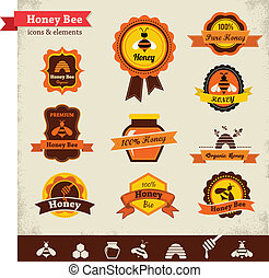 mel, vetorial, jogo, abelha, etiqueta