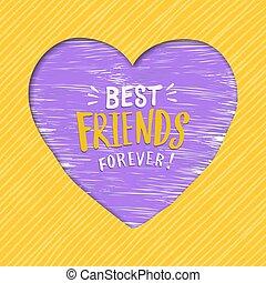 melhor, coração, para sempre, cartão, amigos, dia, amizade