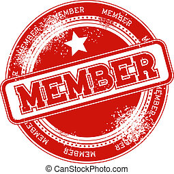 membro, selo, vetorial, grunge