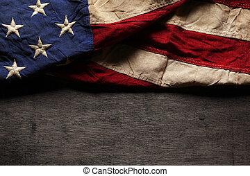 memorial, antigas, bandeira, gasto, dia, americano, julho 4th, ou