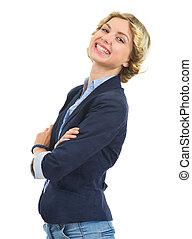 menina adolescente, isolado, retrato, sorrindo, branca