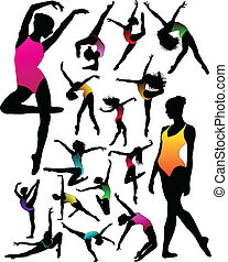 menina, balé, silhuetas, jogo, dança