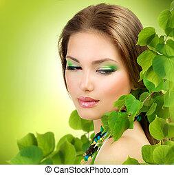 menina, beleza, ao ar livre, verde, primavera, leaves., bonito