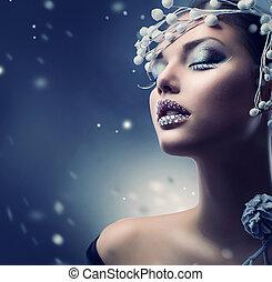 menina, beleza, maquilagem, inverno, woman., natal