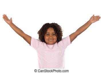 menina, braços estendidos, dela, africano