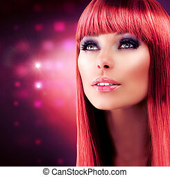 menina, cabelo, haired, portrait., modelo, vermelho, saudável, longo, bonito