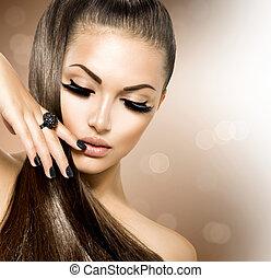 menina, cabelos formam, beleza, modelo, marrom, saudável, longo