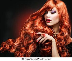 menina, cabelos formam, portrait., hair., cacheados, vermelho, longo