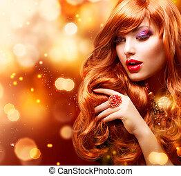menina, cabelos formam, portrait., ondulado, dourado, vermelho