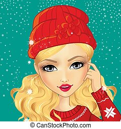 menina, chapéu, avatar, vermelho