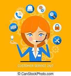 menina, cliente, ícone, centro, chamada, serviço