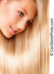 menina, close-up, hair., retrato, loura, longo, bonito, loiro