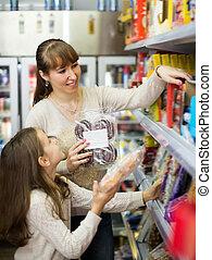 menina, comprar, doces, pequeno, mulher, ordinário