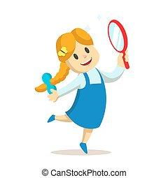 menina, dançar, ilustração, isolado, espelho, mão., vetorial, experiência., apartamento, dela, branca