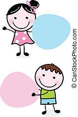 menina, doodle, segurando, bandeiras, menino, em branco