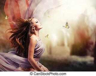 menina, fantasia, mágico, primavera, jardim, bonito, místico