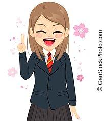 menina, feliz, vitória, estudante, sinal