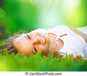 menina, field., felicidade, mentindo, primavera