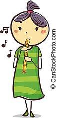 menina, flauta, vara, criança, tocando