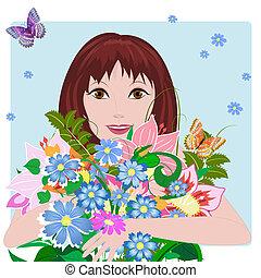 menina, flores, amor