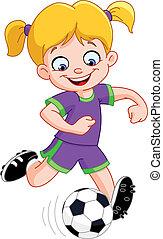 menina, futebol
