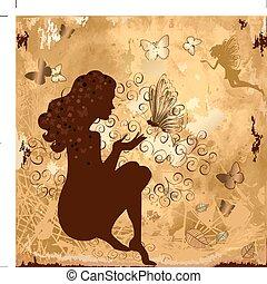 menina, grunge, borboletas