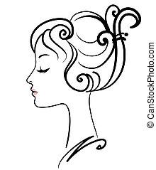 menina, ilustração, rosto, vetorial, bonito