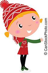menina, isolado, cute, natal, traje, caricatura, branco vermelho