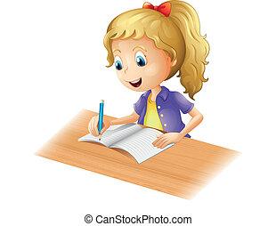 menina, jovem, escrita