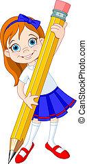 menina, lápis, segurando