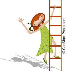 menina, ladder.