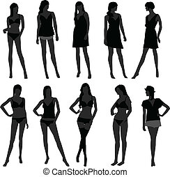 menina, langerie, moda, mulher feminina