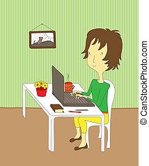 menina, laptop