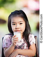 menina, leite, asiático, bebida