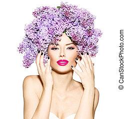 menina, lilás, flores, penteado, modelo, moda, beleza