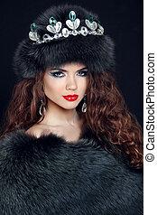 menina, moda, beleza, diamante, modelo, jewelry., coat., beautifu, pele