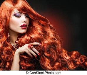 menina, moda, hair., retrato, ondulado, vermelho