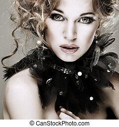menina, moda, hairs., portrait., accessorys., vermelho