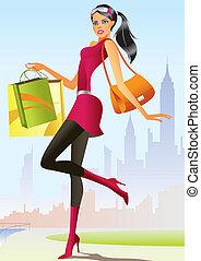 menina, moda, shopping